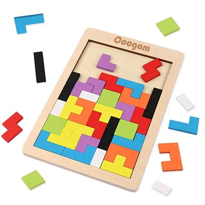 Coogam Wooden Tetris Puzzle Brain Teasers Toy