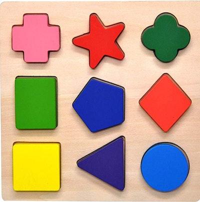 GYBBER&MUMU Wooden Preschool Colorful Shape Puzzle