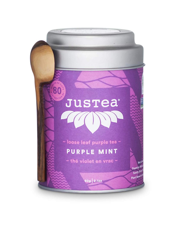 JusTea Loose Leaf Purple Tea with Hand Carved Tea Spoon