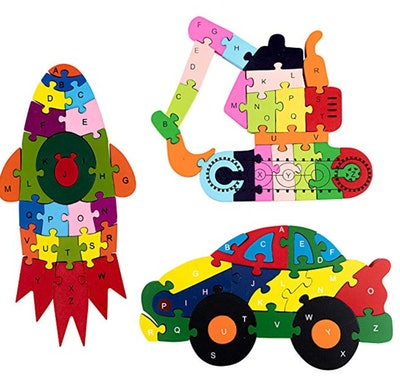 Ava Lynne's Toys Kids Wooden Puzzles Set with Drawstring Storage Bag