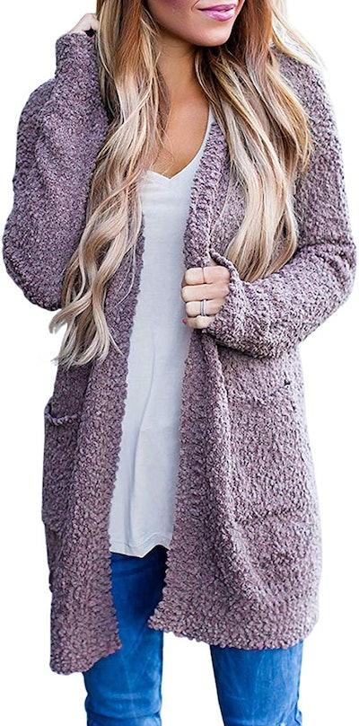 MEROKEETY Women's Long Sleeve Soft Chunky Knit Sweater