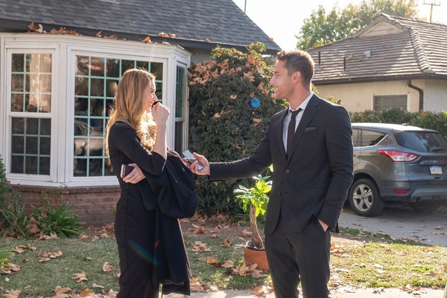 Kevin (Justin Hartley) flies to Pittsburgh to attend Sophie's (Alexandra Breckenridge) mom's funeral on 'This Is Us.'