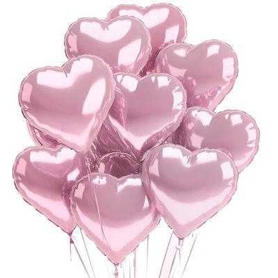 Pink Heart Balloons   12 Pack