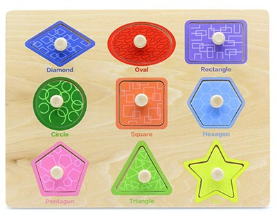 Aile Toddler Wooden Preschool Learning Shape Peg Puzzle Board Toys