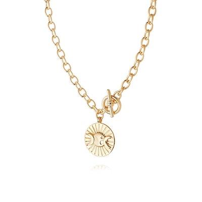 Estee Lalonde Goddess Medallion T Bar Necklace
