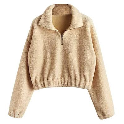 ZAFUL Women's Fashion Long Sleeve Lapel Half Zip