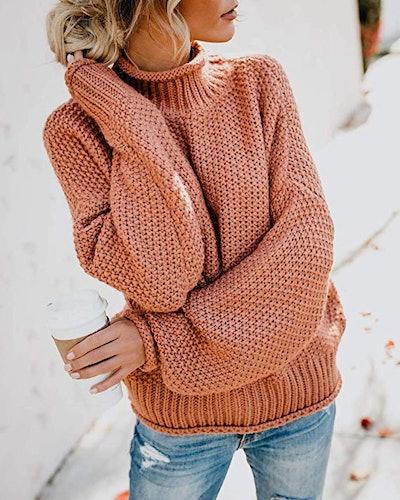 Saodimallsu Womens Turtleneck Oversized Sweaters Batwing