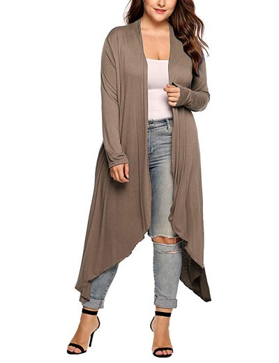 IN'VOLAND Women's Plus Size Long Open Front Duster