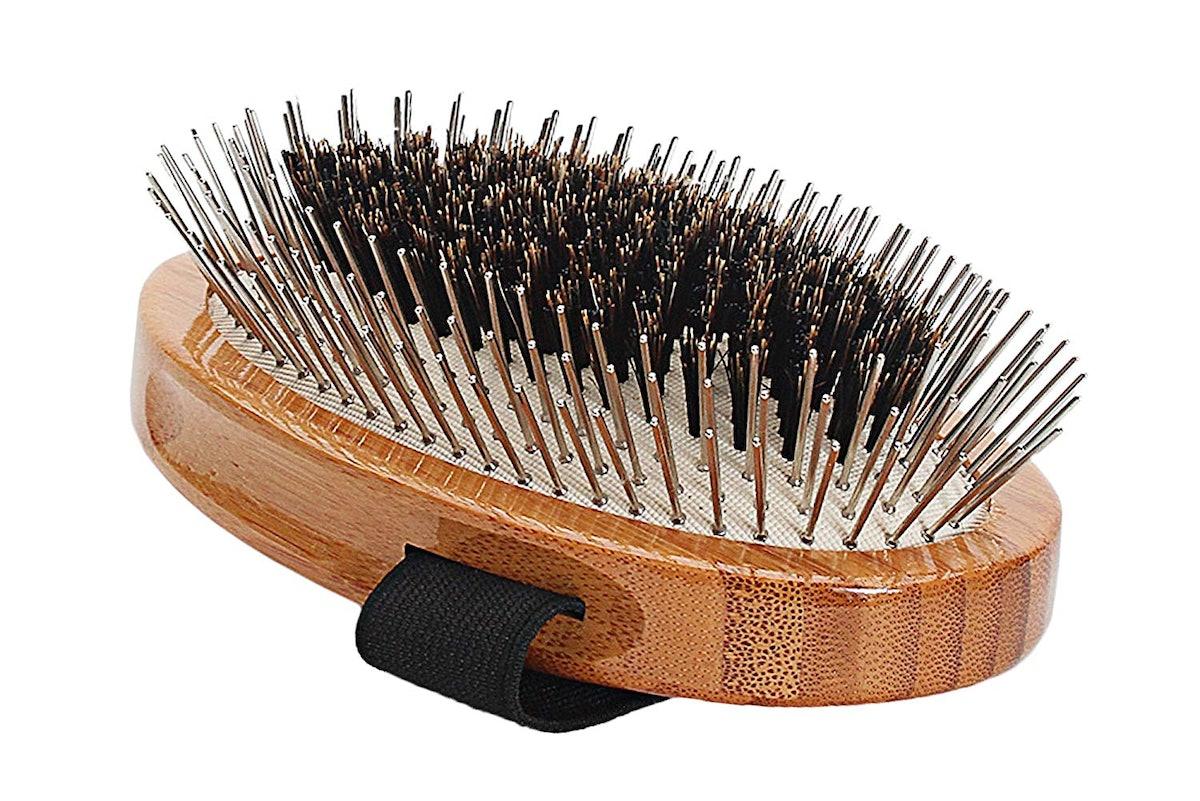100% Premium Natural Bristle + Alloy Pin Pet Grooming Brush