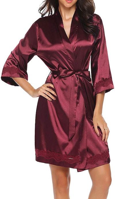 Ekouaer Women's Lace-Trim Kimono Style Short Satin Robe