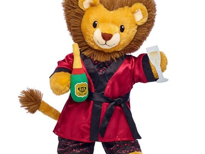 a stuffed lion from Build-a-Bear for Valentine's Day