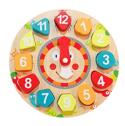 Babe Rock Sorting Toys Wooden Learning Puzzle Shape Sorting Clock Numbers