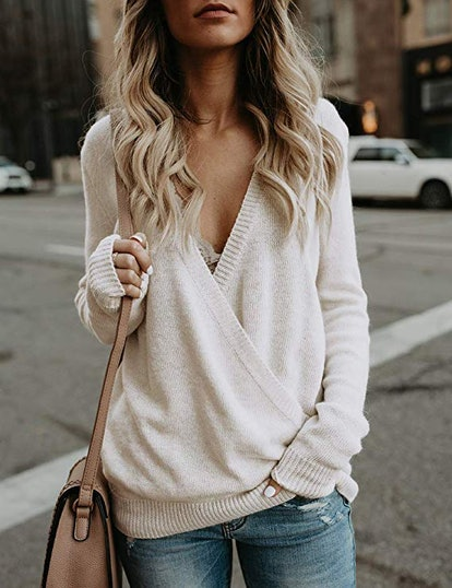 Softome Womens Knitted Deep V-Neck Long Sleeve Wrap Front