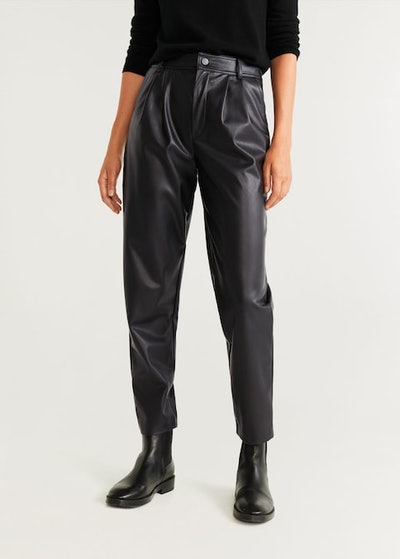 Leather effect high waist pant