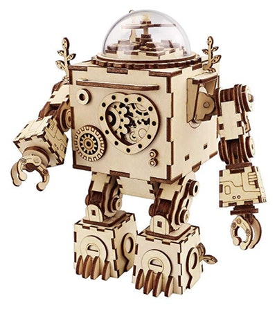 Robotime 3D Puzzle Music Box Wooden Craft Kit Robot