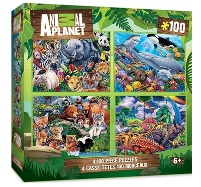 Master Pieces Animal Planet 4-pack Multipack 100 Piece Puzzles