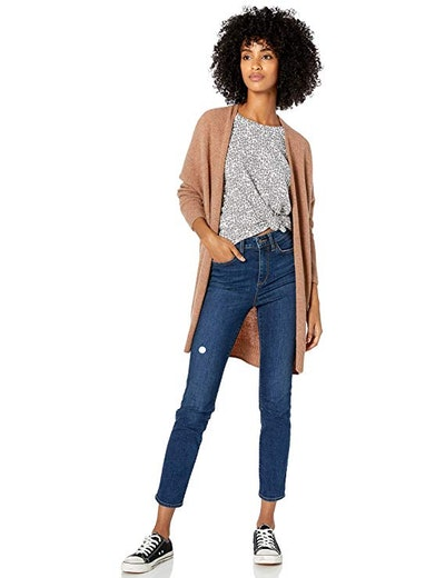 Goodthreads Women's Mid-Gauge Stretch Cocoon Sweater, Caramel Heather