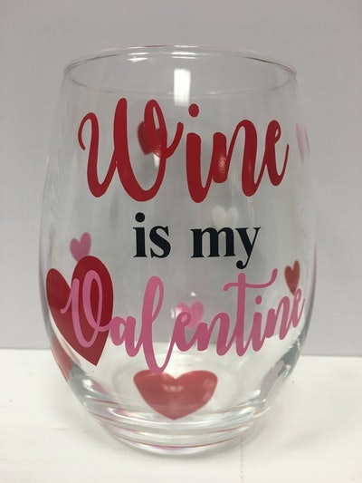 Valentine's Day Wine Glass