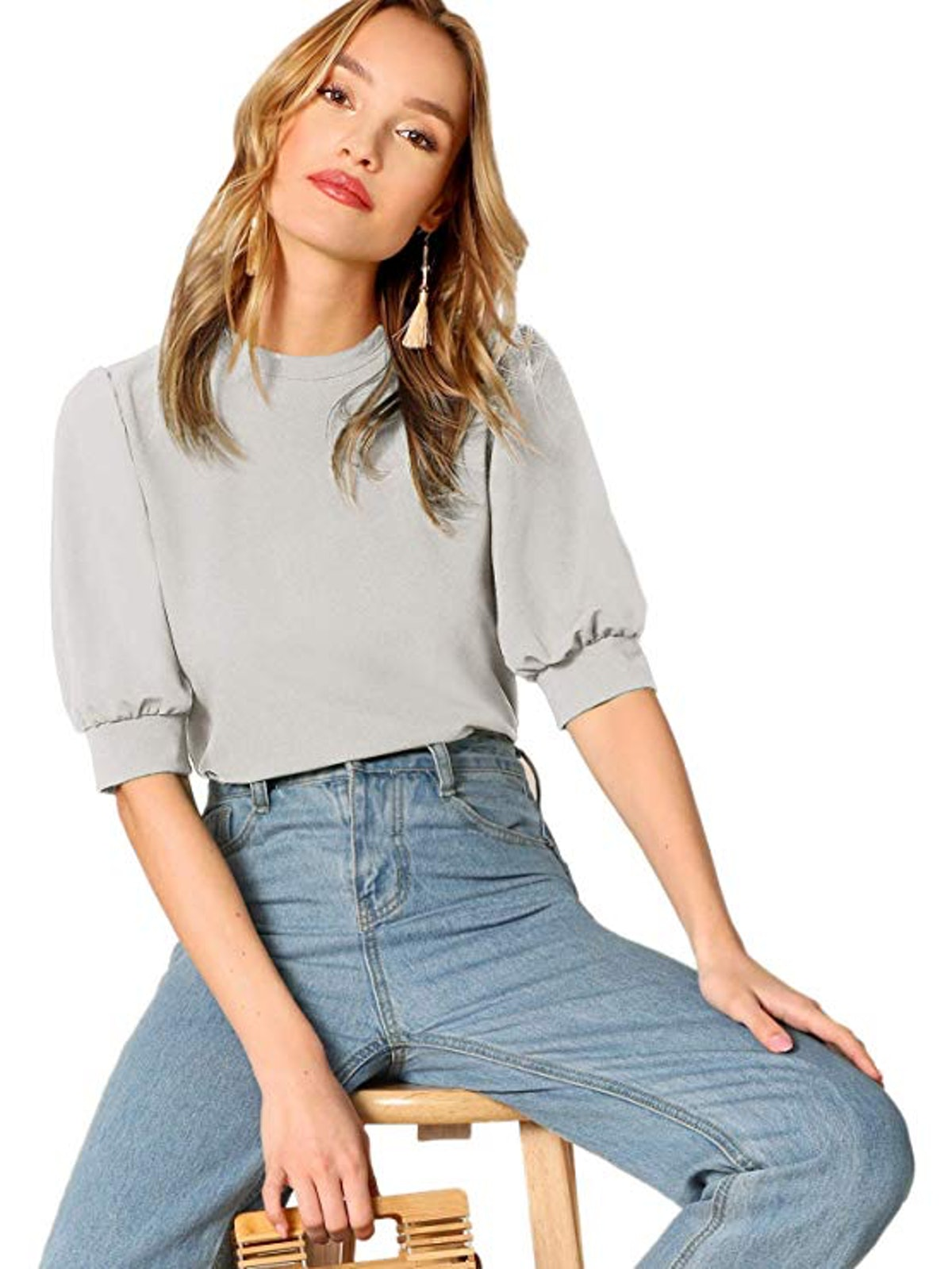 SheIn Women's Puff Sleeve Casual Solid Top Pullover
