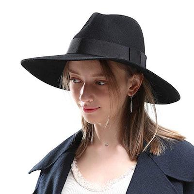 Mix Brown Wool Brimmed Hat