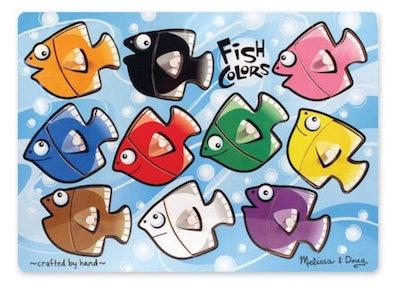 Melissa & Doug Fish Colors Mix 'n Match Wooden Peg Puzzle