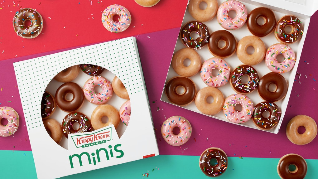 Krispy Kreme's New Mini Doughnuts Are here and they're the perfect bize-sized treat.