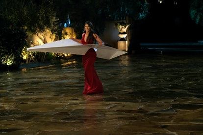 The Bachelor's Madison wore a paper airplane to meet Peter Weber.