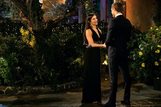 The Bachelor's Katrina wore a black gown with an open back.