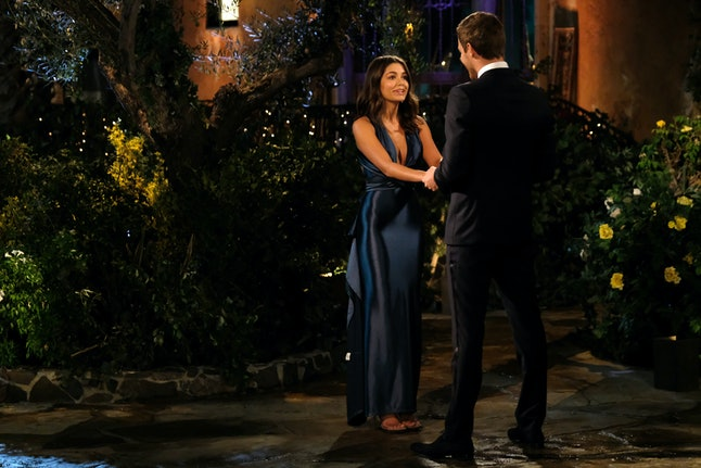 The Bachelor's Hannah Ann wore a navy gown.