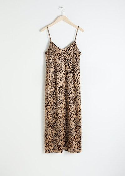 Satin Leopard Slip Dress