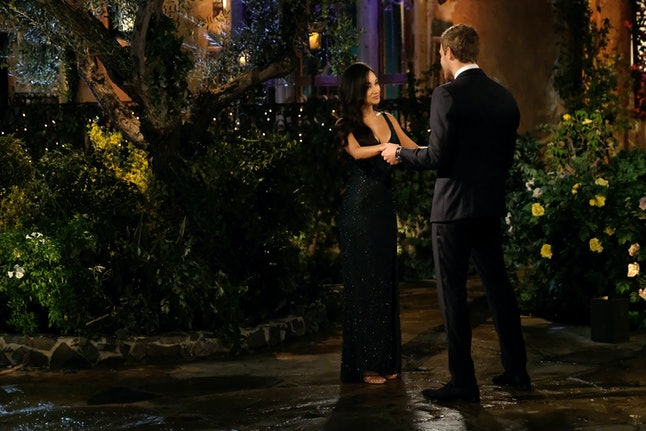 The Bachelor's Victoria F appears to have opted for a deep green gown.