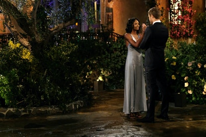 The Bachelor's Natasha wore metallic silver for night one.