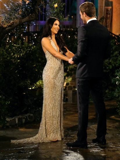 The Bachelor's Sydney naked dress was sexy and glam.