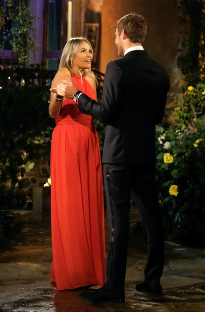The Bachelor's Payton wore a flowing red gown.