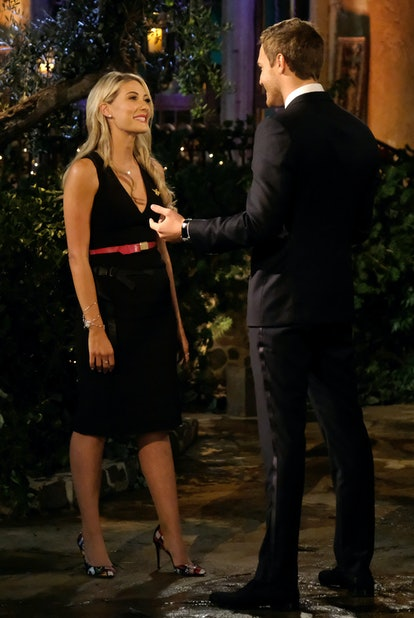 The Bachelor's Megan wore a short dress for night one.