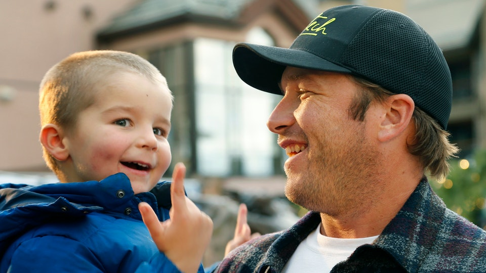 Bode Miller and his son. Miller lost a daughter to a drowning accident.