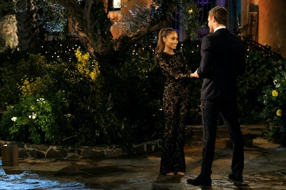 The Bachelor's Lauren wore a sheer lace gown for night one.