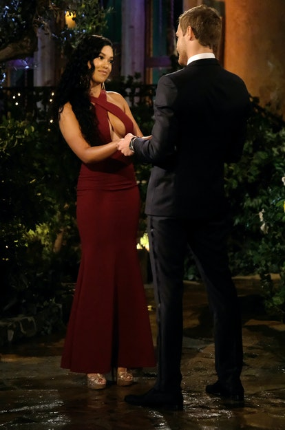 The Bachelor's Maurissa went for a burgundy gown on night one.