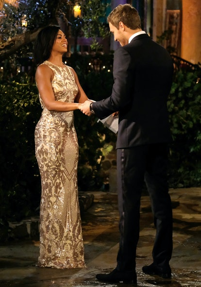 The Bachelor's Shiann's gold brocade gown made her stand out from the other women.