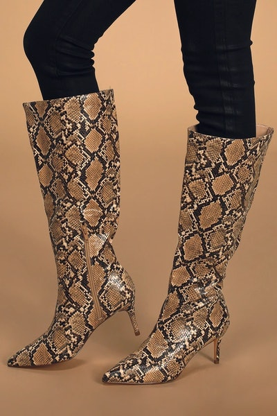 Baarr Tan Snake Pointed-Toe Knee High Boots