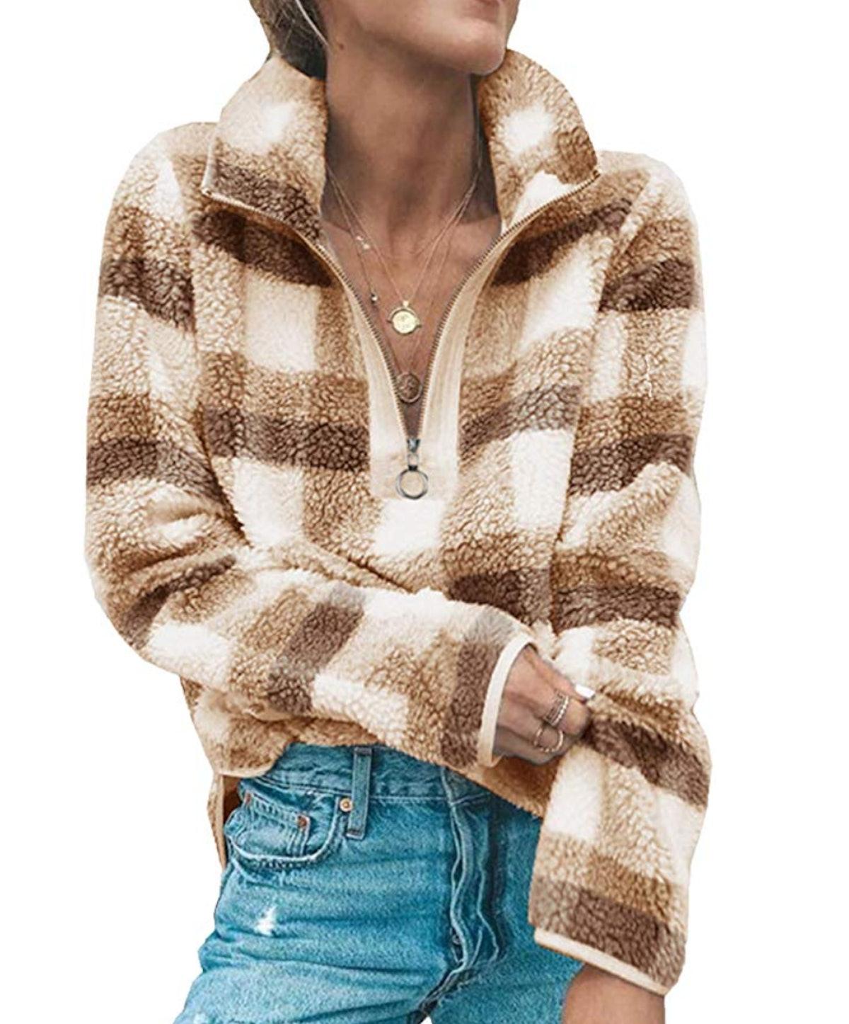Angashion Fleece Quarter-Zip Sweatshirt