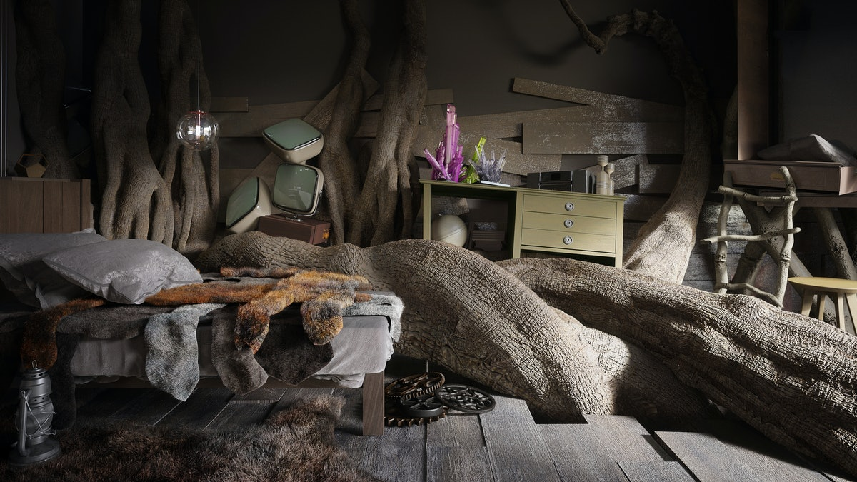A tree branch goes through the center of a Finn the Human from 'Adventure Time'-inspired cartoon bedroom.