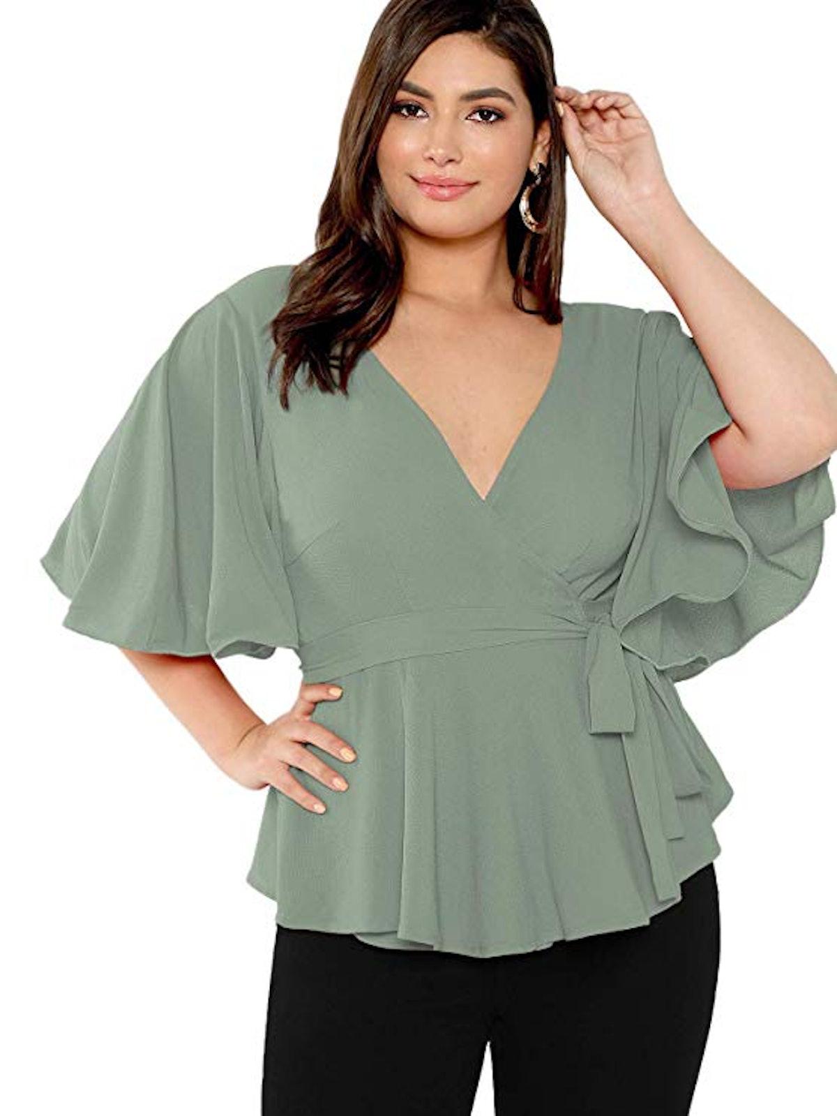 ROMWE Women's Plus Size Short Sleeve Deep V