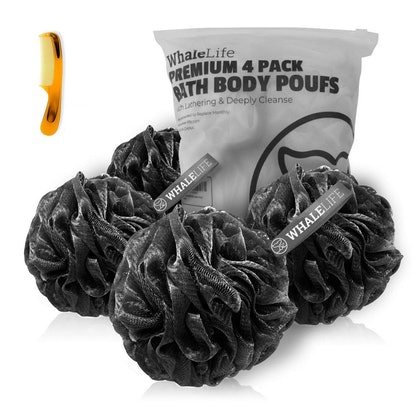 WhaleLife Charcoal Shower Puffs (4 Pack)