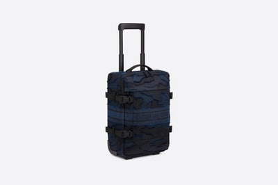Small Blue DiorTravel Camouflage Technical Canvas Luggage Bag