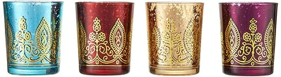 Kate Aspen Indian Jewel Henna Glass Votives
