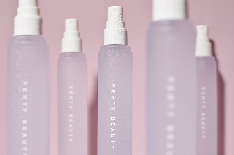Fenty Beauty's new What It Dew Makeup Refreshing Spray in the bottle.
