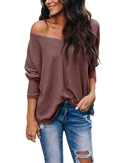Women's Casual V Neck Long Sleeve Waffle Knit Off Shoulder Top