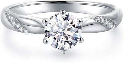 Raneecoco Flame Solitaire Engagement Ring