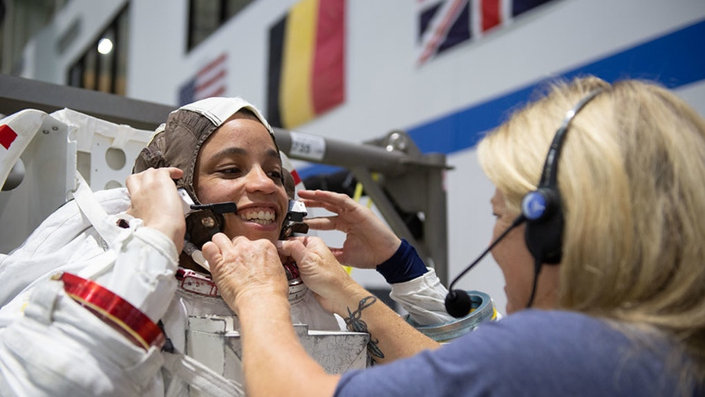 Astronaut Jessica Watkins tries on her spacesuit